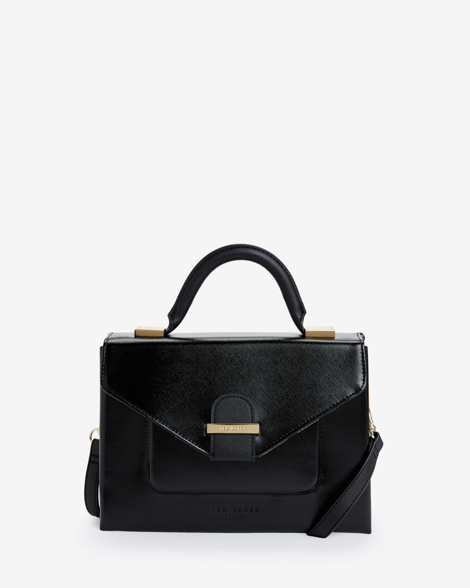 Ted baker Small Crosshatch Patent Tote Bag in Black | Lyst