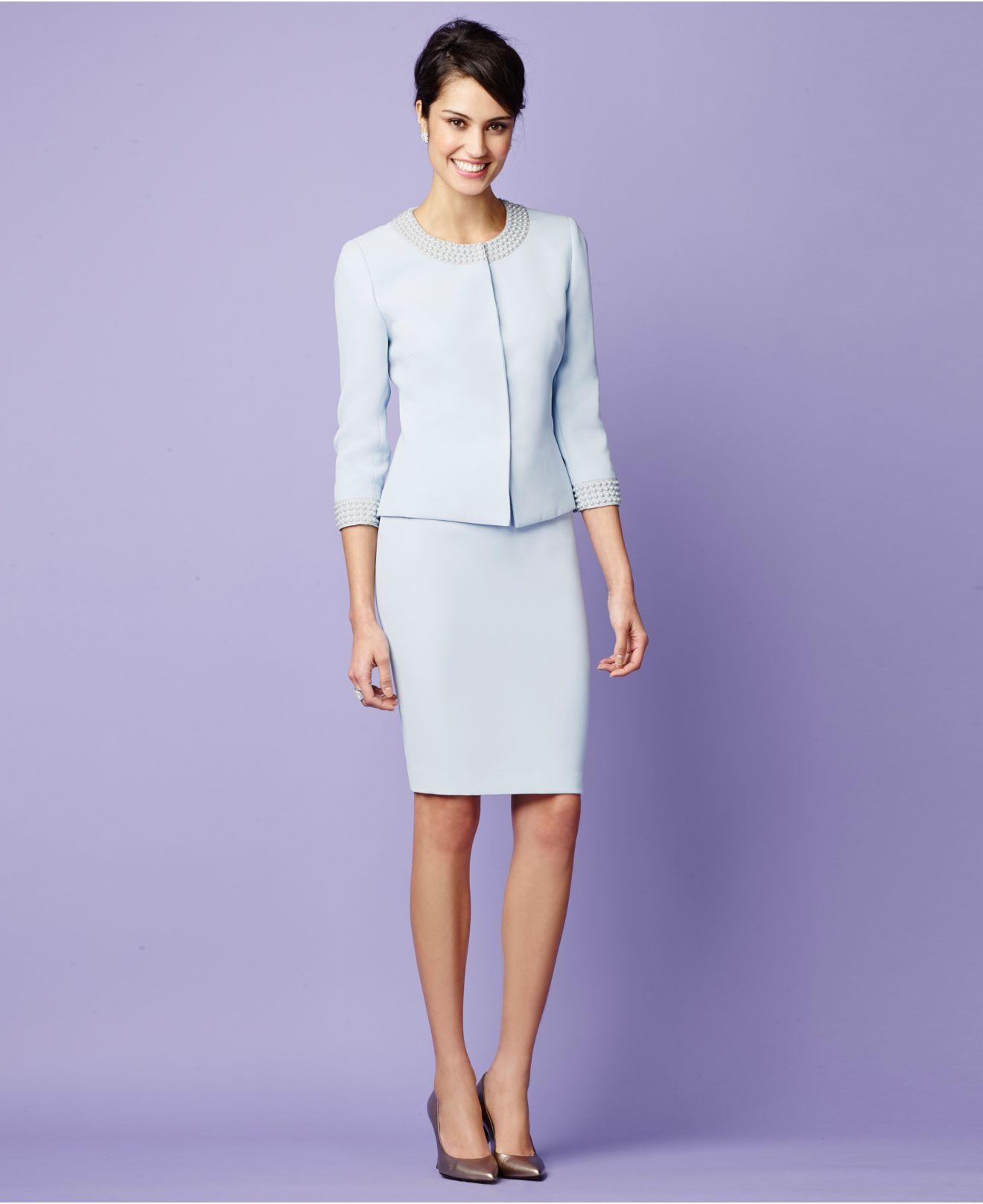 tahari pearl trim snap front skirt suit in blue lyst