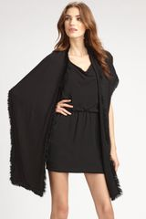 Ilana Wolf Rabbit Fur Trimmed Wrap in Black - Lyst