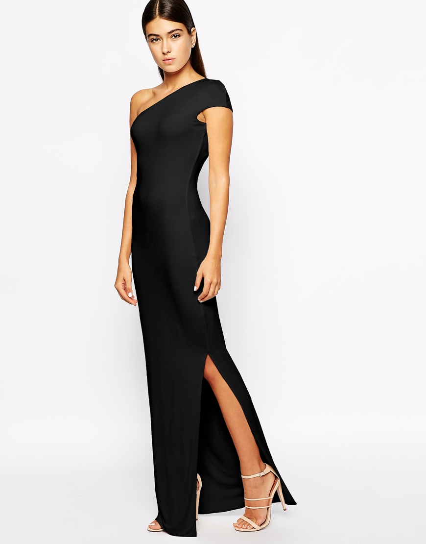 One shoulder black maxi dress