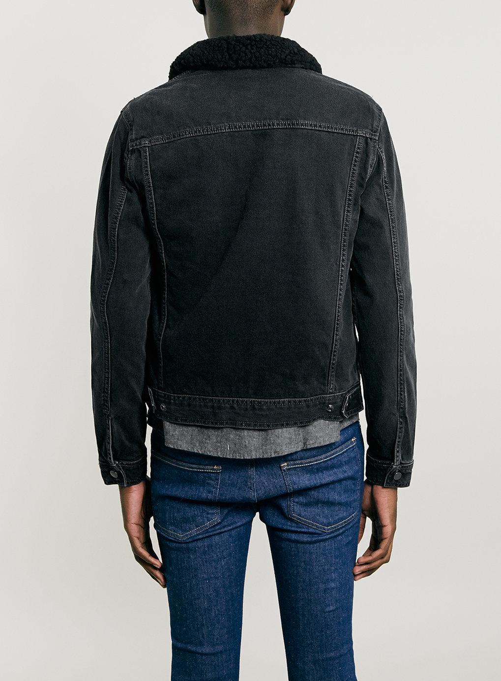 Lac Bk Denim Western Jacket With Bk Borg Lining In Black