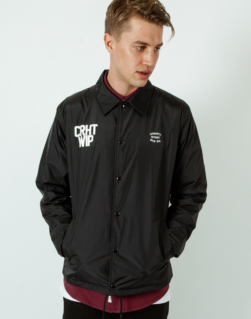 Carhartt wip coach embroidered crepe jacket in black for