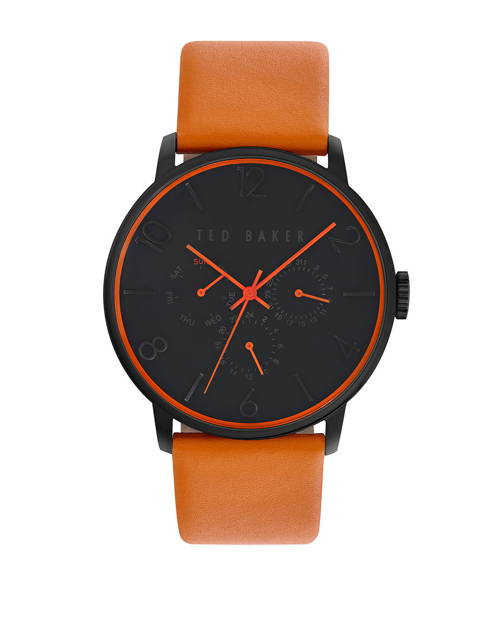 ted baker mens smart casual black chronograph and leather