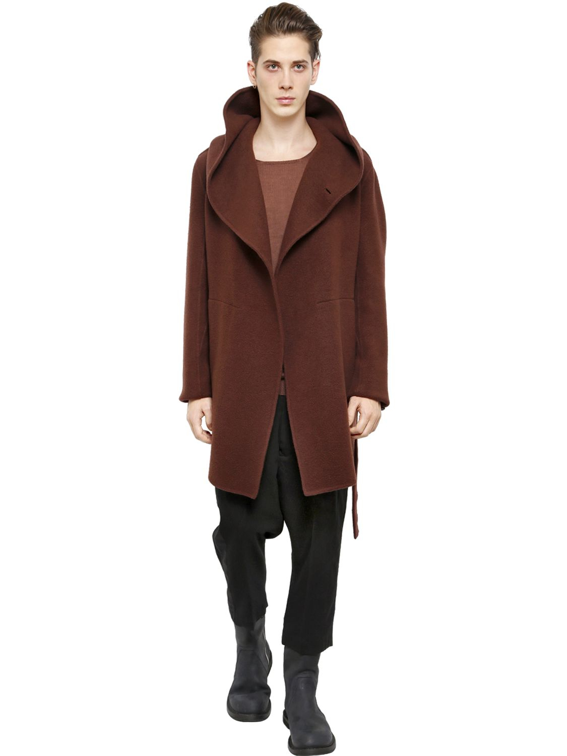 Rick owens Hooded Double Cashmere Coat in Red for Men | Lyst