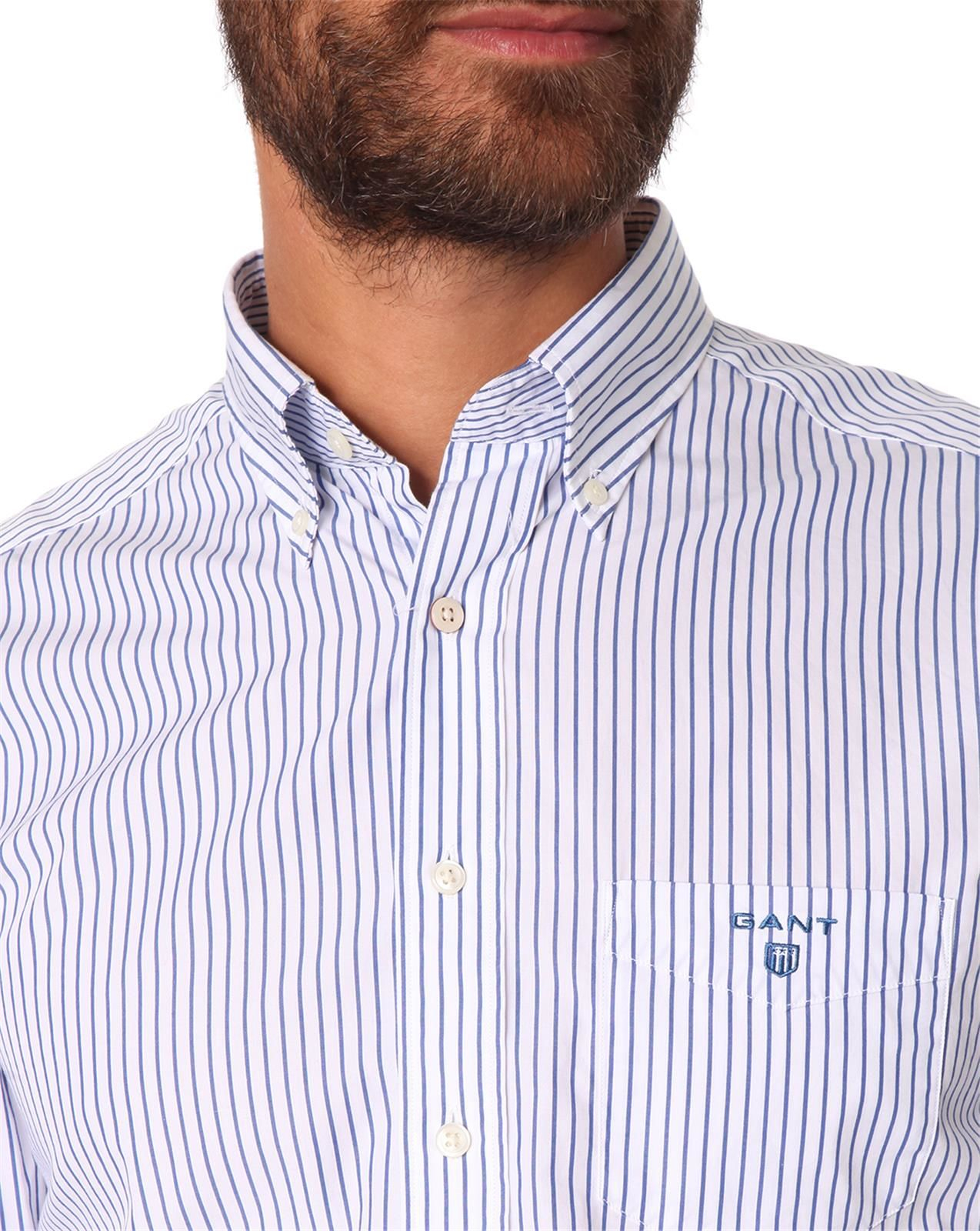 Gant white and navy striped button down shirt in white for for Striped button down shirts for men