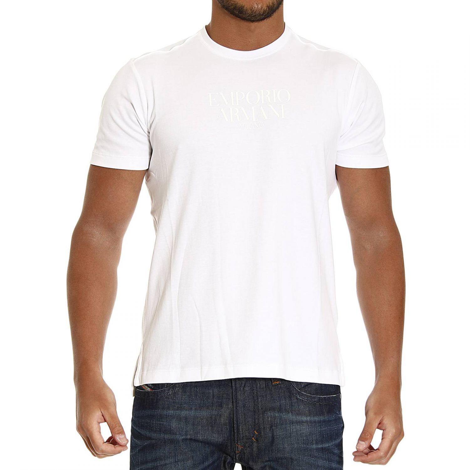 emporio armani t shirt in white for men lyst. Black Bedroom Furniture Sets. Home Design Ideas