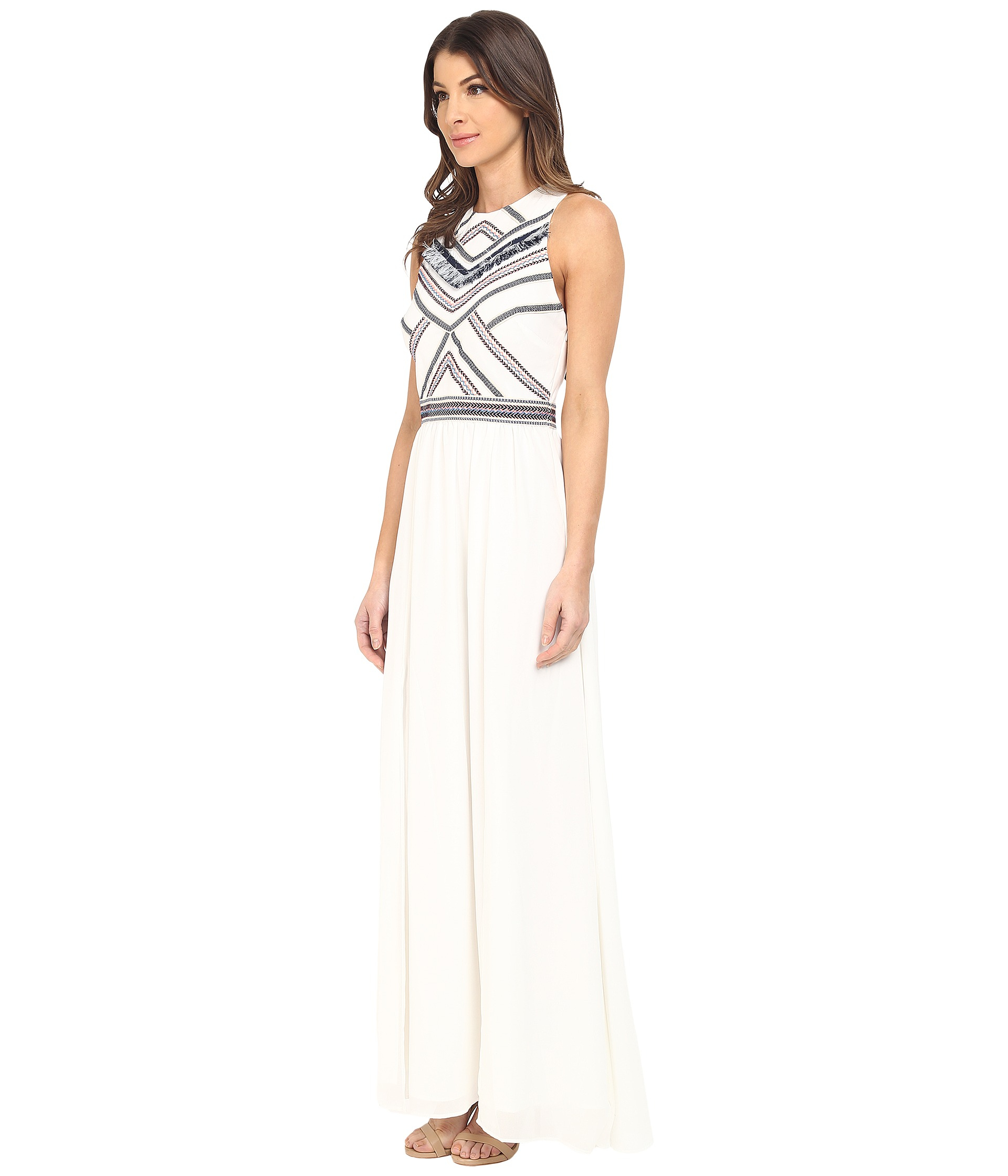 5aa086d3fec4a Lyst - Adelyn Rae Maxi Dress W  Fringe Detail in White