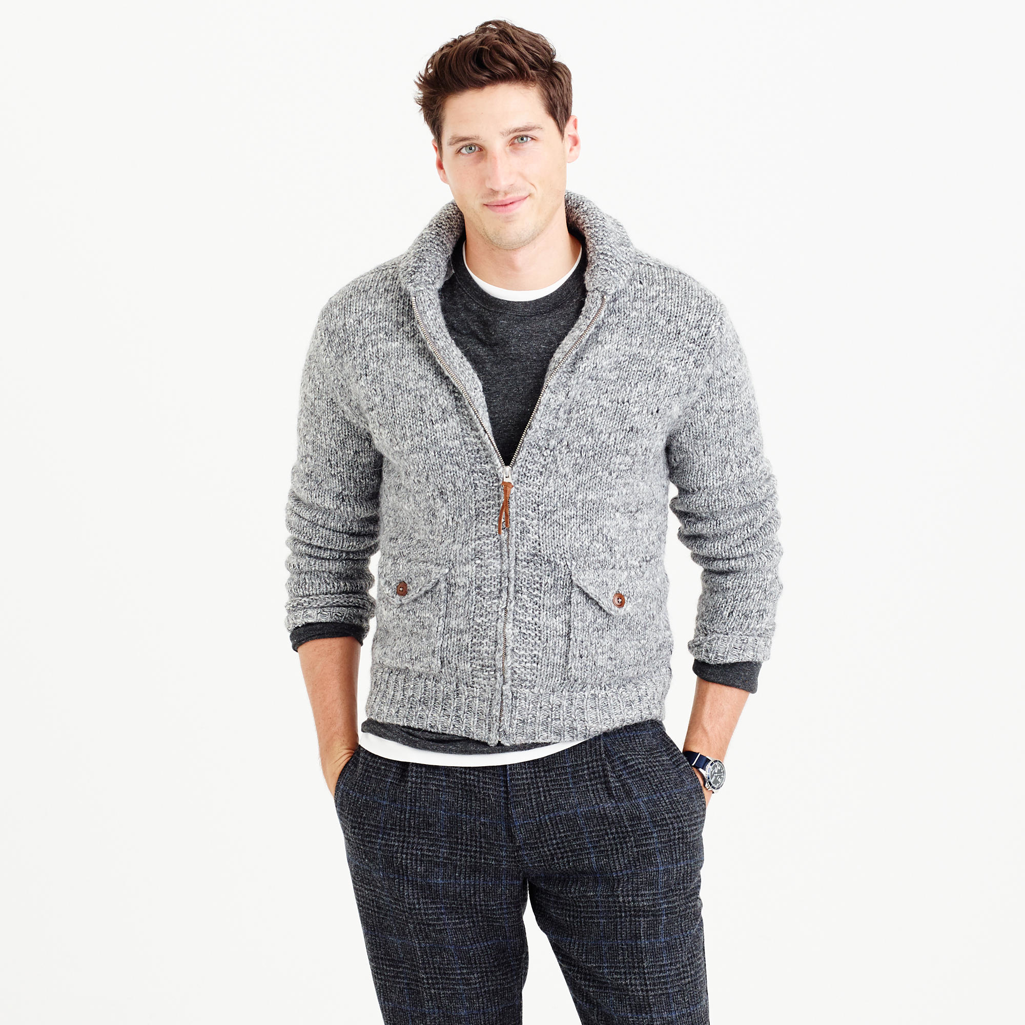 J.crew Wool-alpaca Shawl-collar Zip-up Cardigan Sweater in Black ...