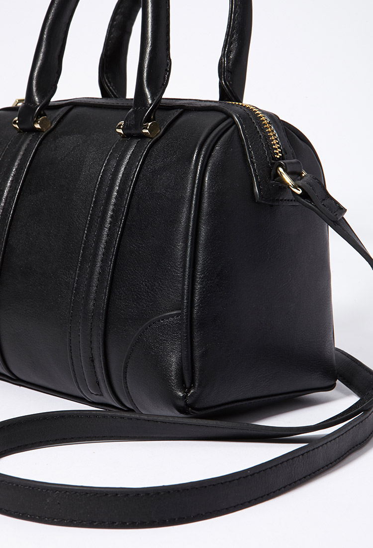 Forever 21 Faux Leather Satchel in Black   Lyst