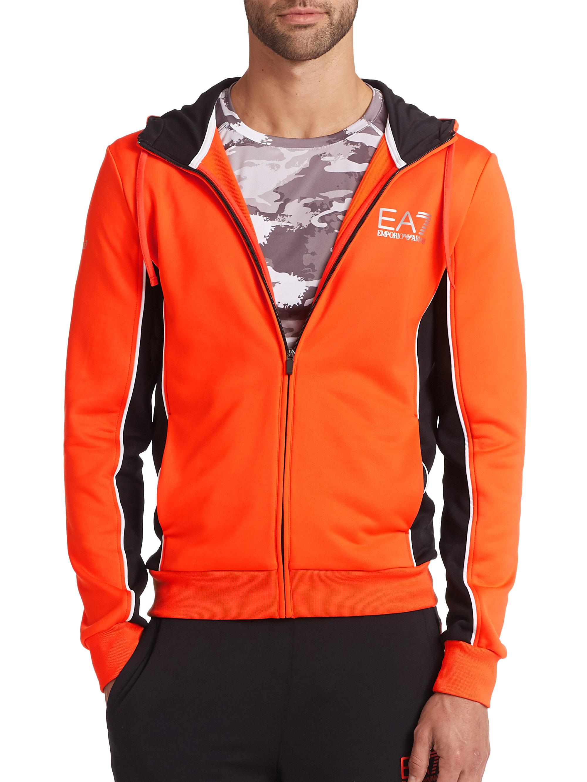 Emporio armani Colorblock Zip-Front Hoodie in Orange for Men | Lyst