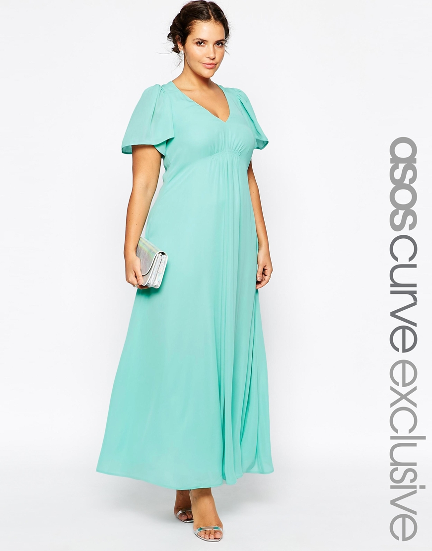 Asos curve wedding maxi dress with flutter sleeve in green for Maxi dress at wedding