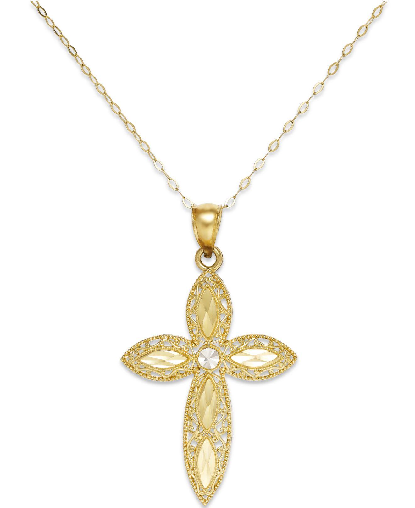 macy s filigree cross pendant necklace in 14k gold in gold