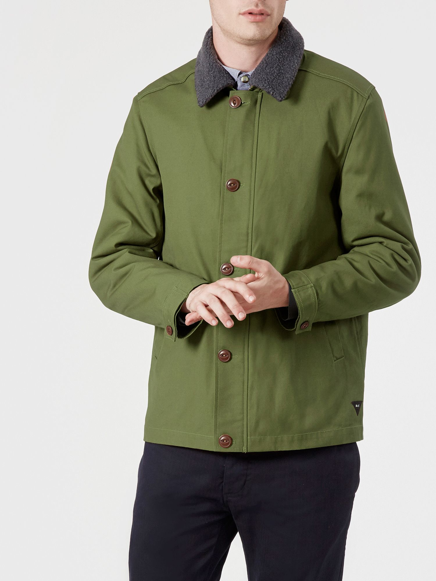 Realm & empire Car Coat With Detachable Fleece Collar in Green for