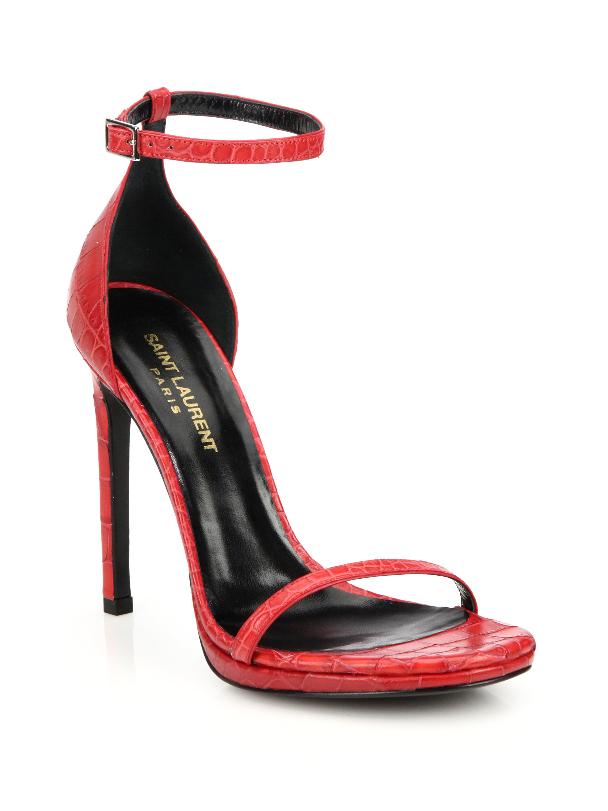 Lyst Saint Laurent Croc Embossed Leather Jane Sandals In Red
