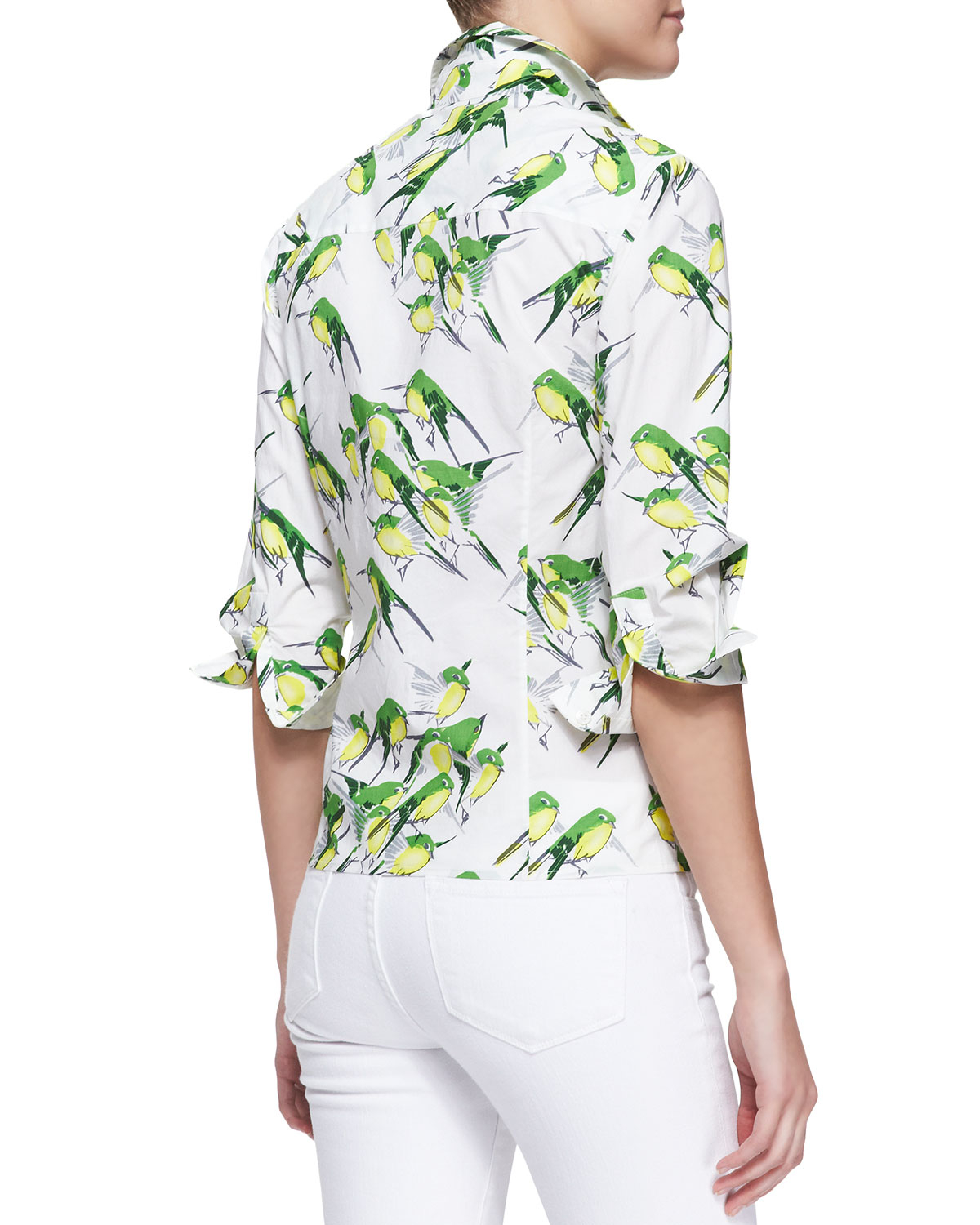 8f0521c2 Carolina Herrera Birds Printed Button-Down Blouse in Green - Lyst