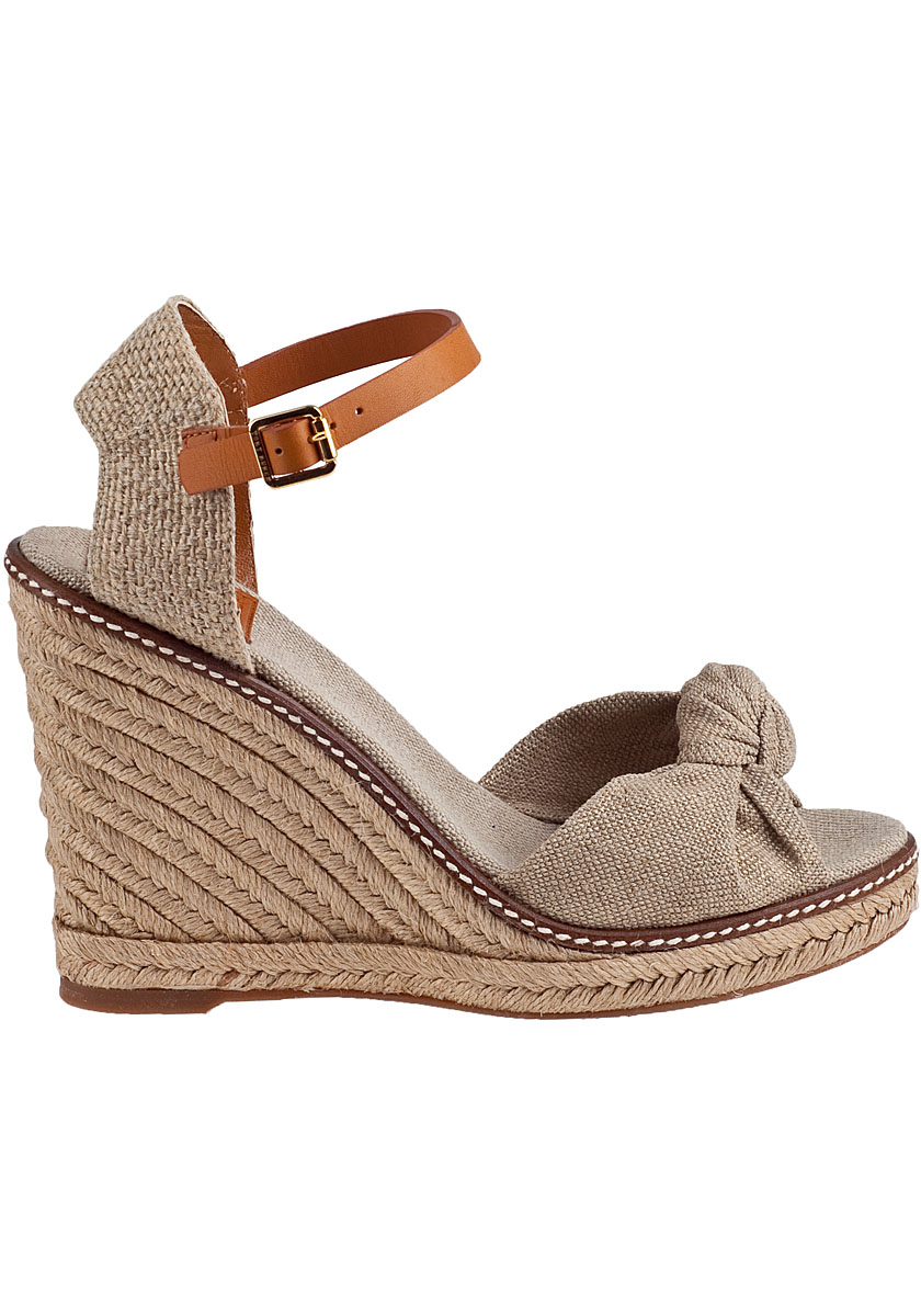 Tory Burch Macy Linen Espadrille Wedge Sandals In Natural