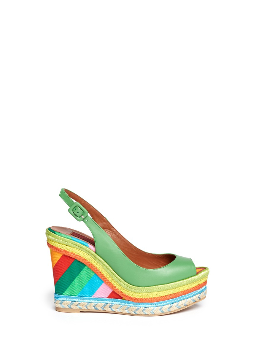 8c97633fedb Lyst - Valentino Leather Canvas Platform Wedge Sandals