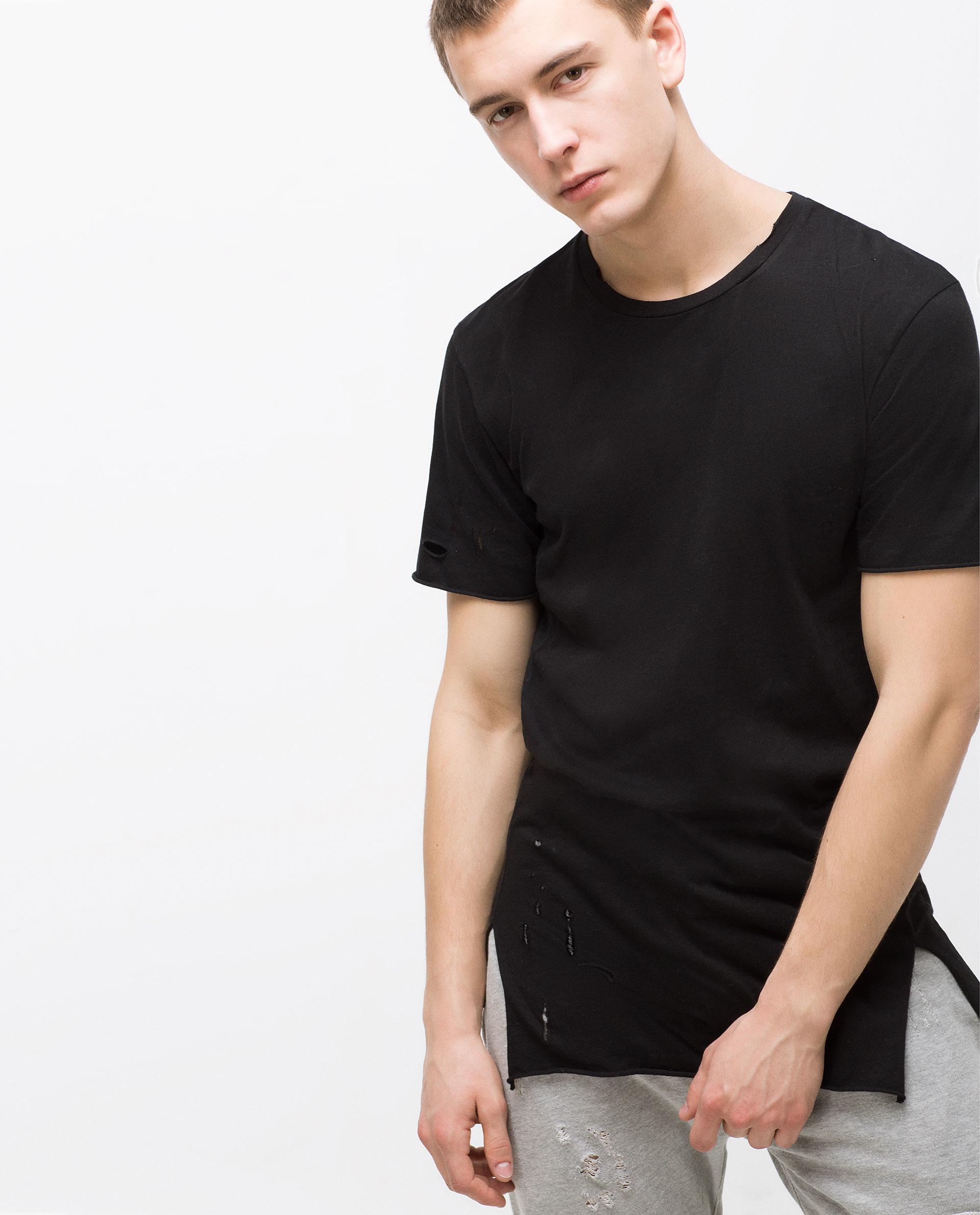 Black t shirt for man - Zara Black T Shirt Man Zara Ripped T Shirt In Black For Men Lyst