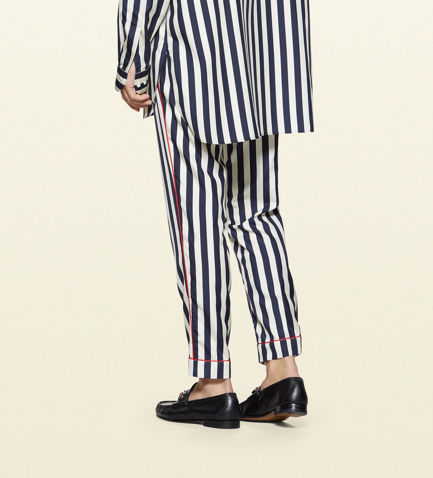 89f7e4b5 Gucci Striped Silk Poplin Pajama Pant in Black for Men - Lyst