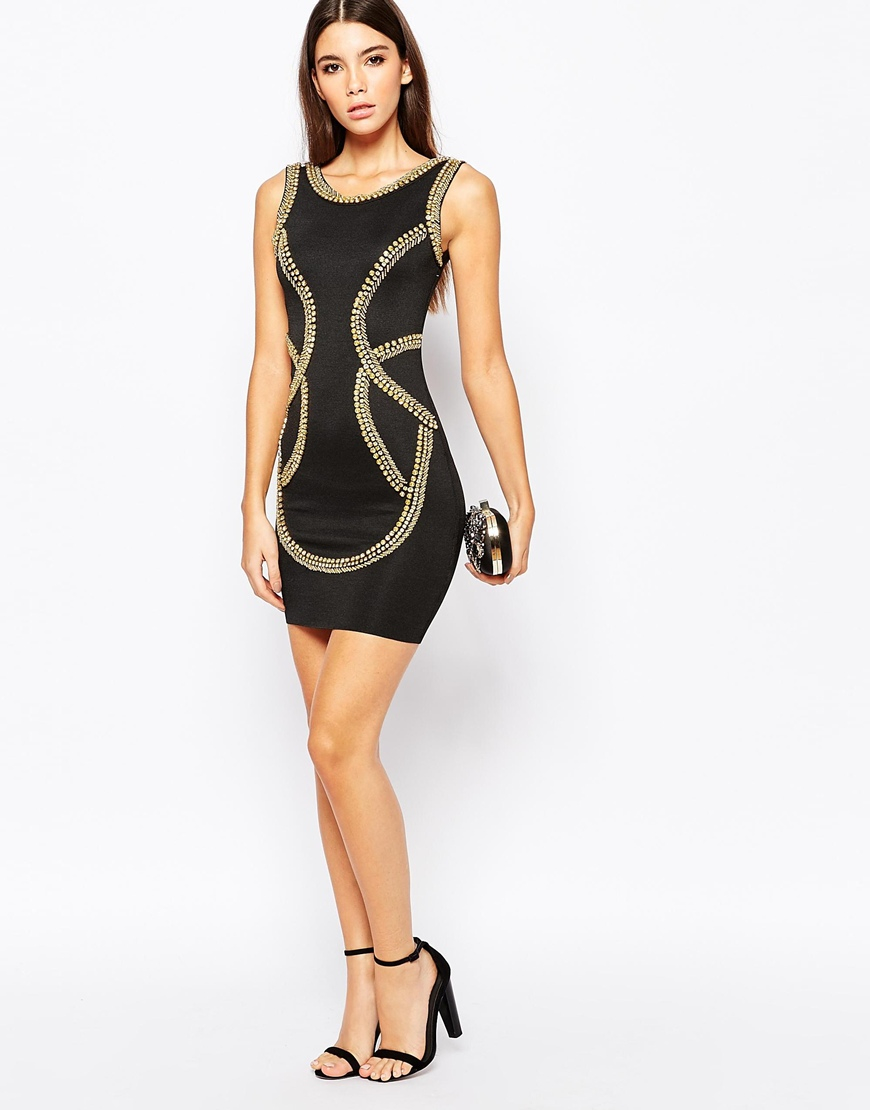 Lyst - Wow Couture Bandage Dress With Gold Embellishment in Black 995064473496