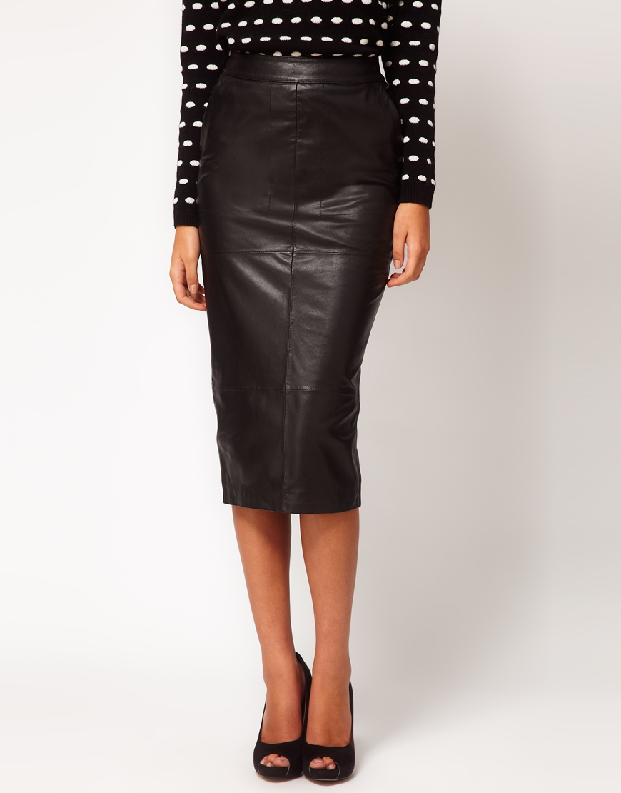 Asos collection Pencil Skirt in Leather in White | Lyst