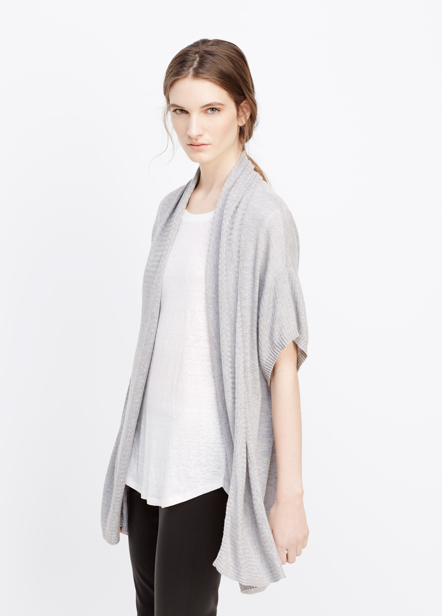 Vince Linen Blend Short Sleeve Open Front Cardigan in Gray | Lyst