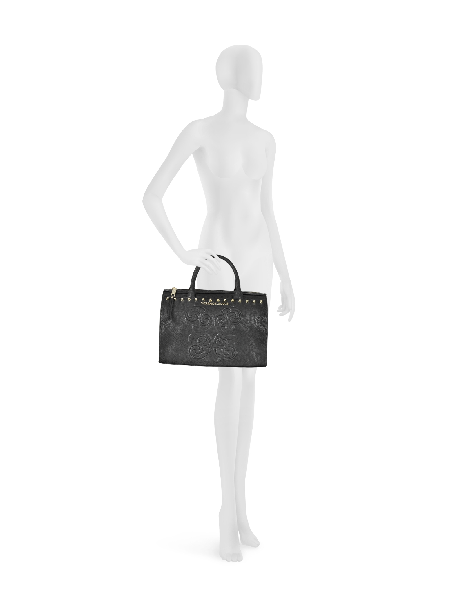 8d3a552104f07 Lyst - Versace Jeans Black Studded and Embroidered Eco-leather ...