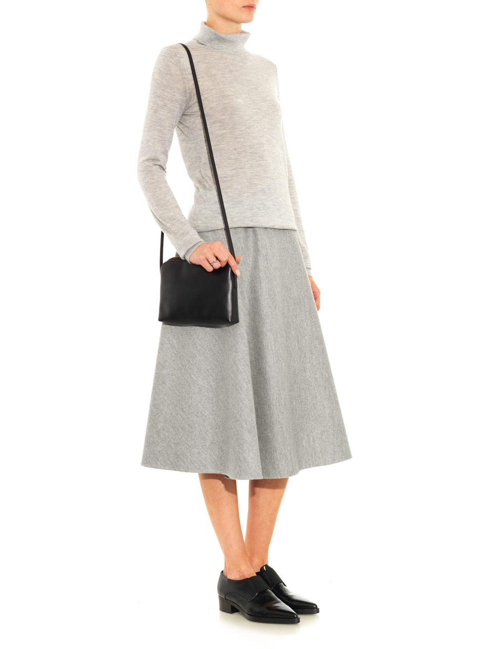 the row nisha faced wool midi skirt in gray lyst
