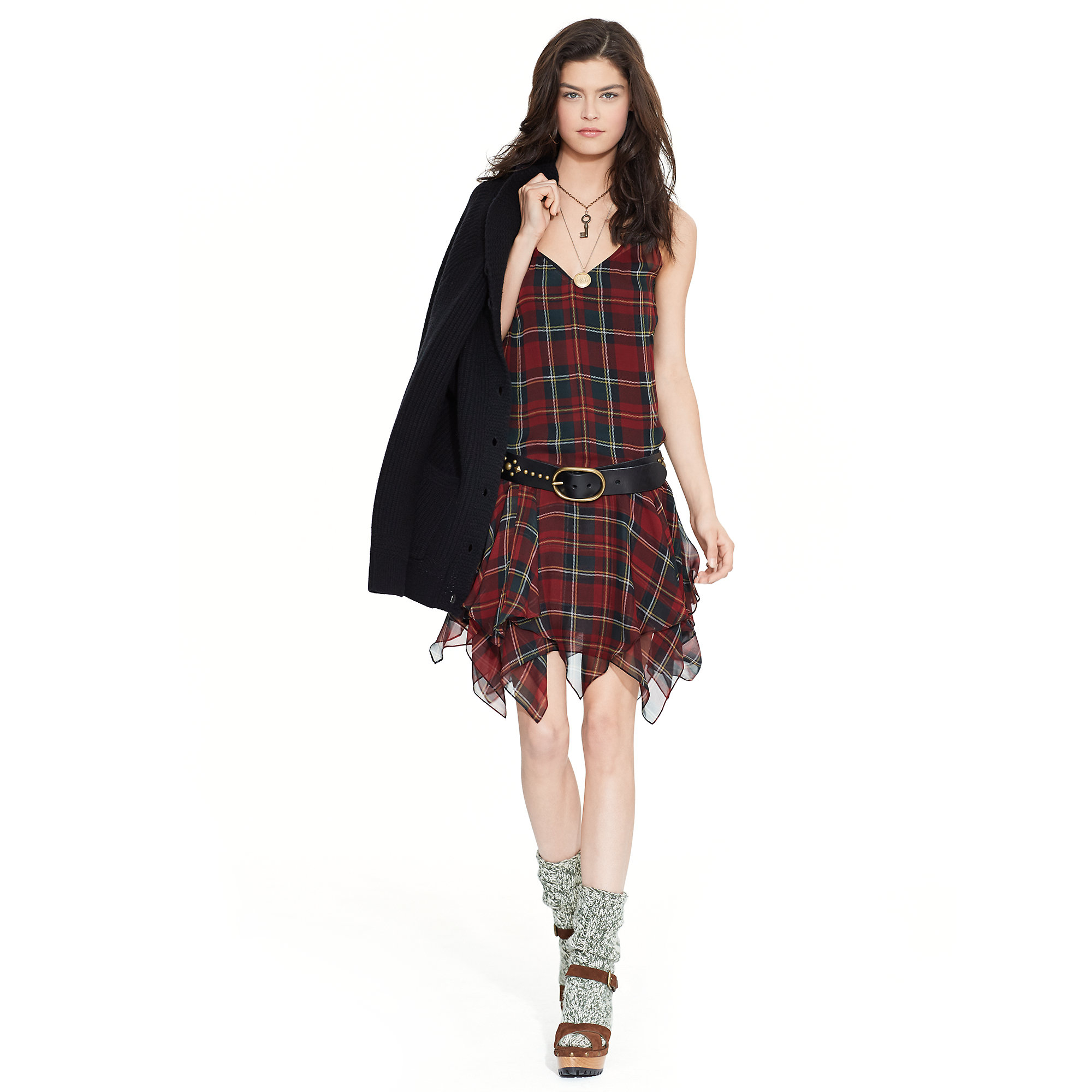 Polo Ralph Lauren Silk Tartan Sleeveless Dress Lyst