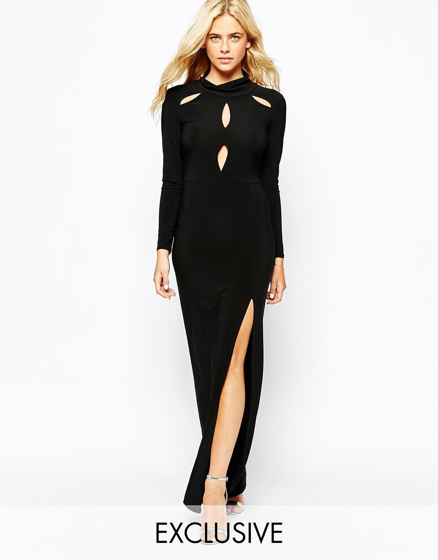 Love High Neck Maxi Dress With Cut Outs And Thigh Split in Black ...