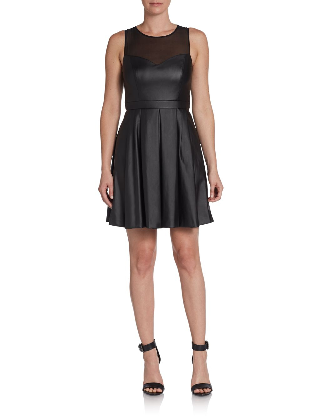 Ali Ro Faux Leather Illusion Fit And Flare Dress In Black