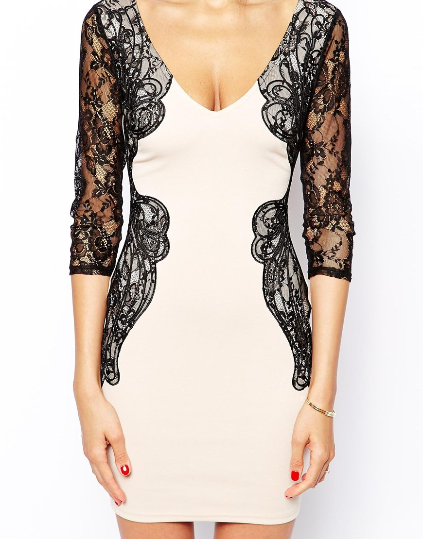Lyst Lipsy Michelle Keegan Loves Bodycon Dress With Lace