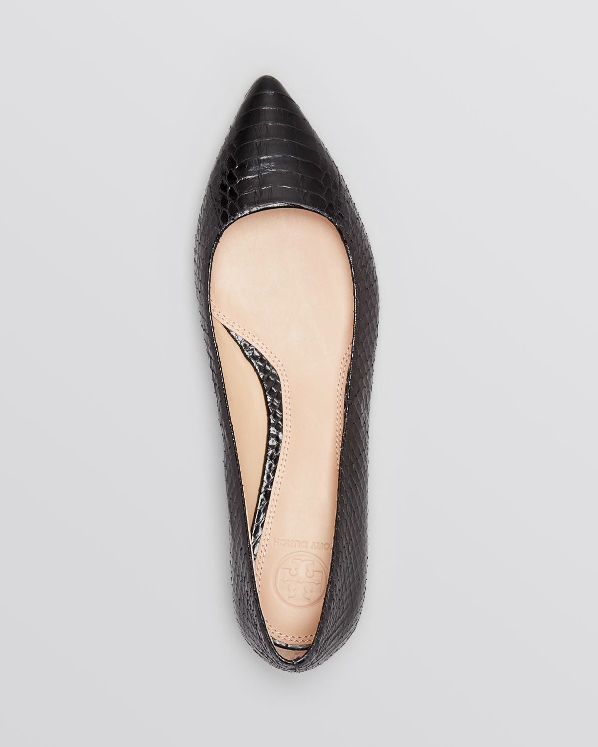d8835c91d Lyst - Tory Burch Pointed Toe Flats - Bedford Snakeskin in Black