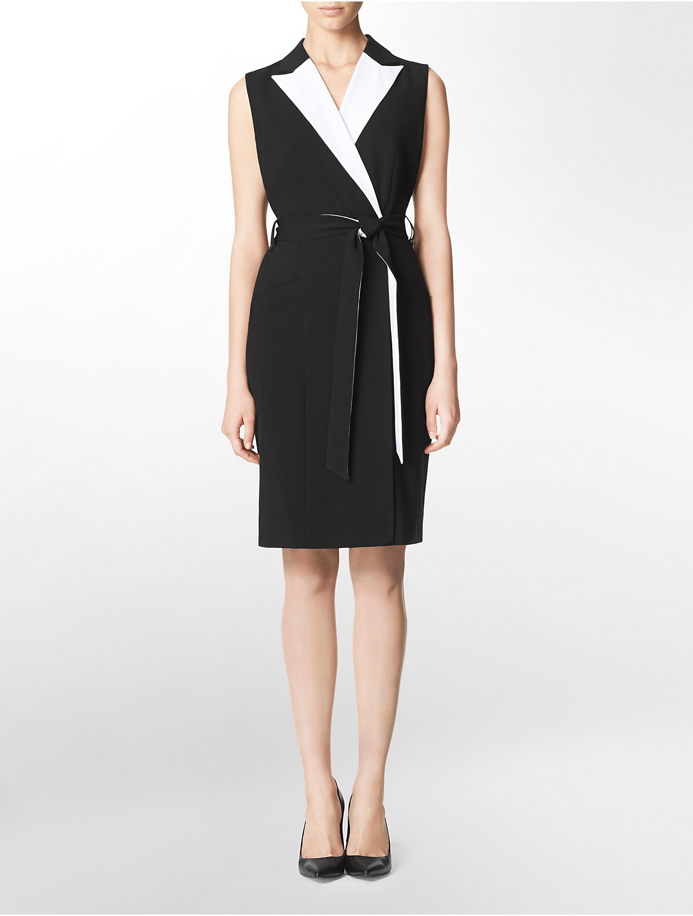 Calvin klein White Label Colorblock Faux Wrap Belted ...