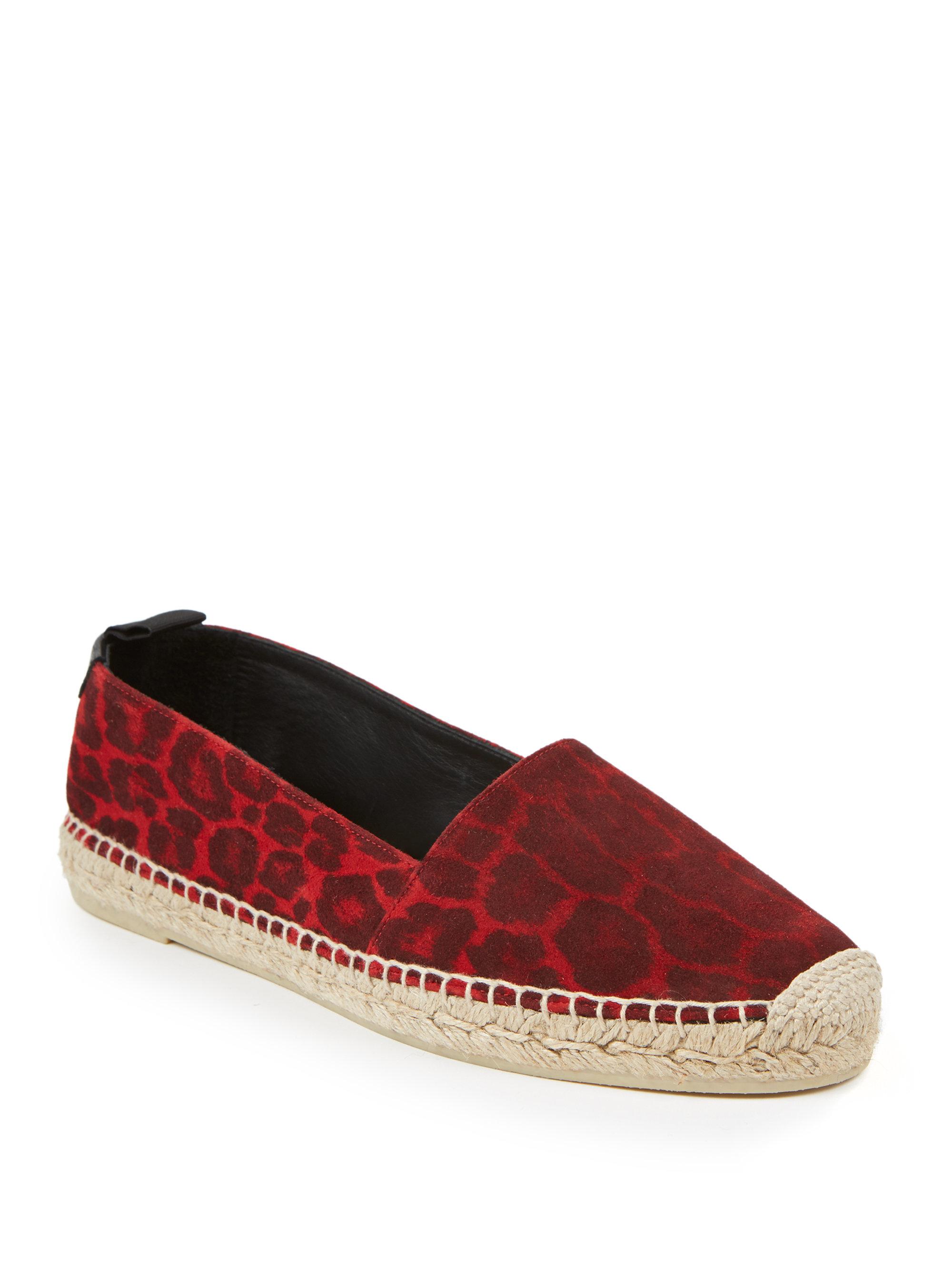 saint laurent leopard print suede espadrilles in red lyst