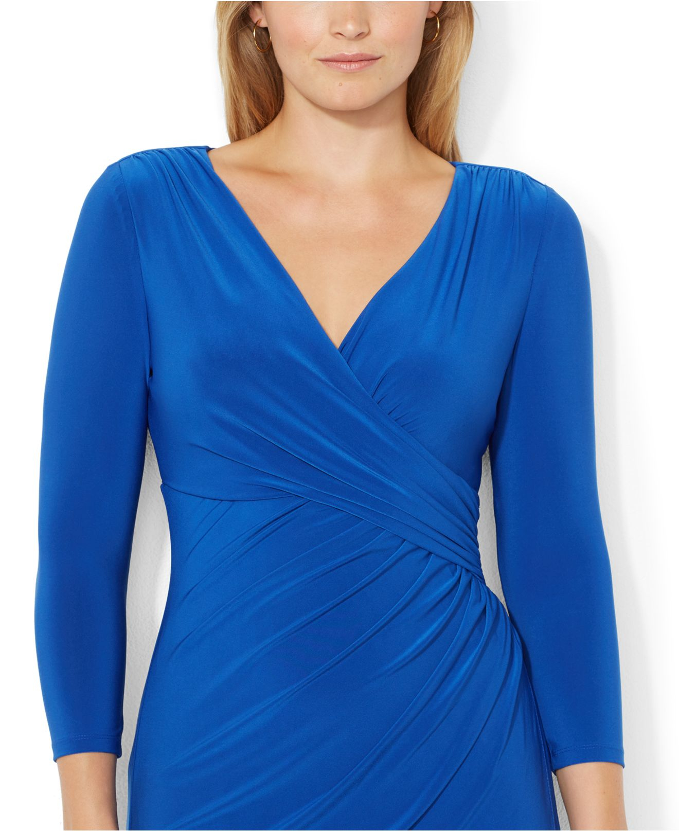 Lyst Lauren By Ralph Lauren Plus Size Faux Wrap Dress In Blue