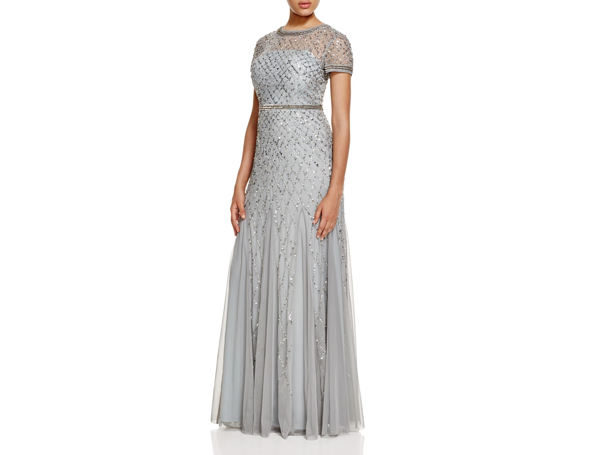 Lyst - Adrianna Papell Short Sleeve Beaded Gown in Blue