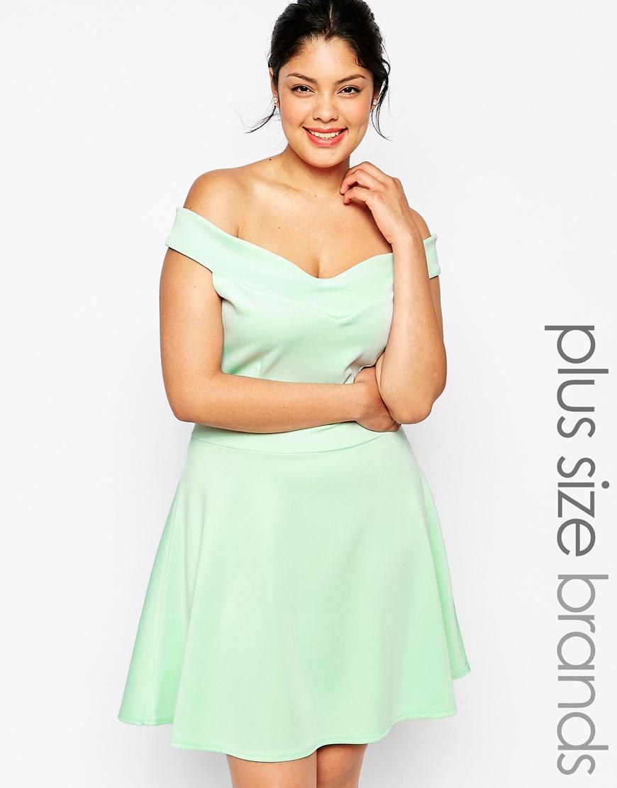 Lyst Praslin Plus Size Scuba Bardot Skater Dress In Green