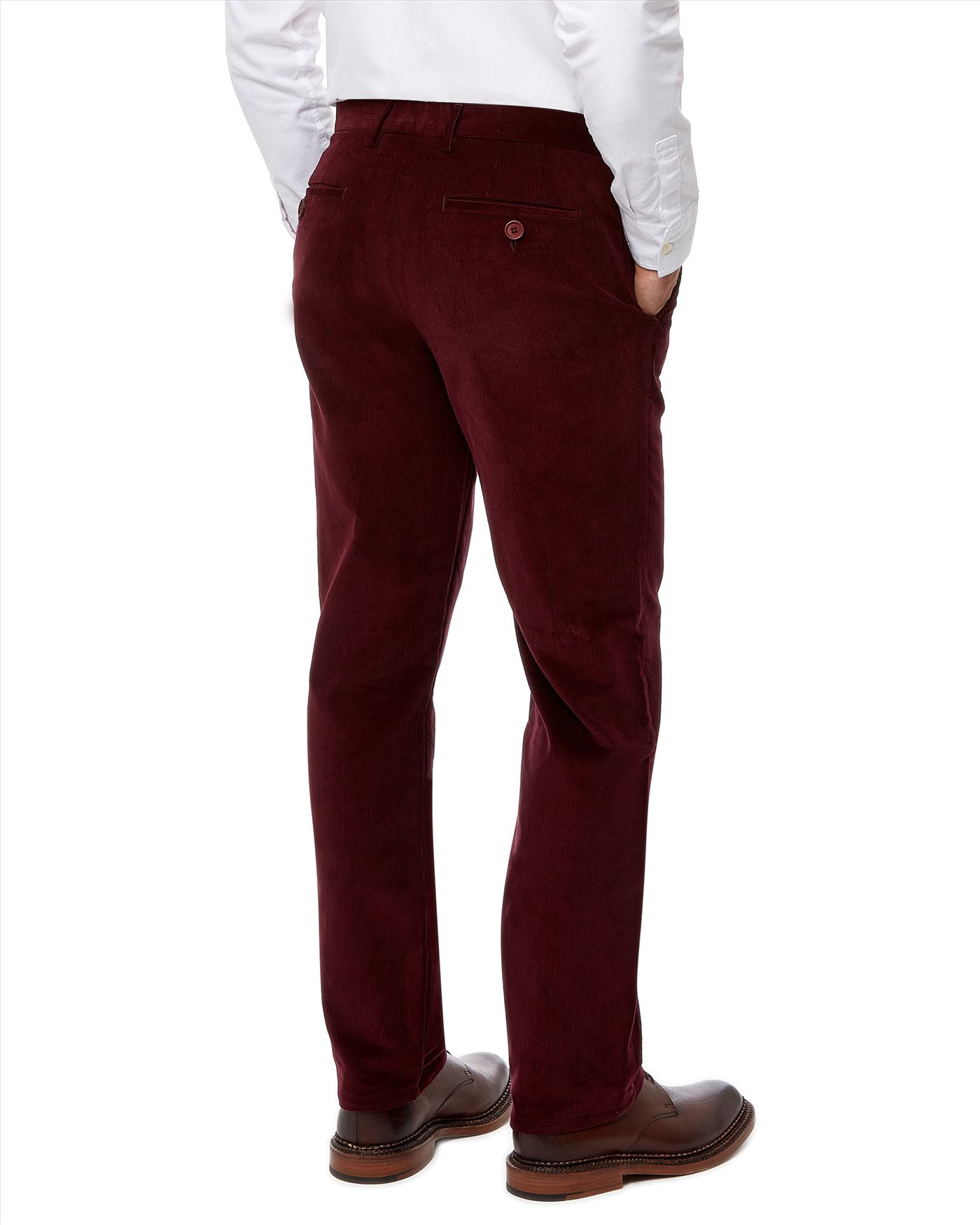 We love the slim look of these pants, but if you are not used to a slimmer cut of trousers we recommend going up a size. If you like the look of the shoes in the photo, also buy a pair of our Purple Men's Oxfords.