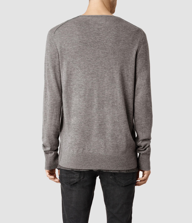 4ee176cbdf1d AllSaints Riviera Crew Sweater in Gray for Men - Lyst