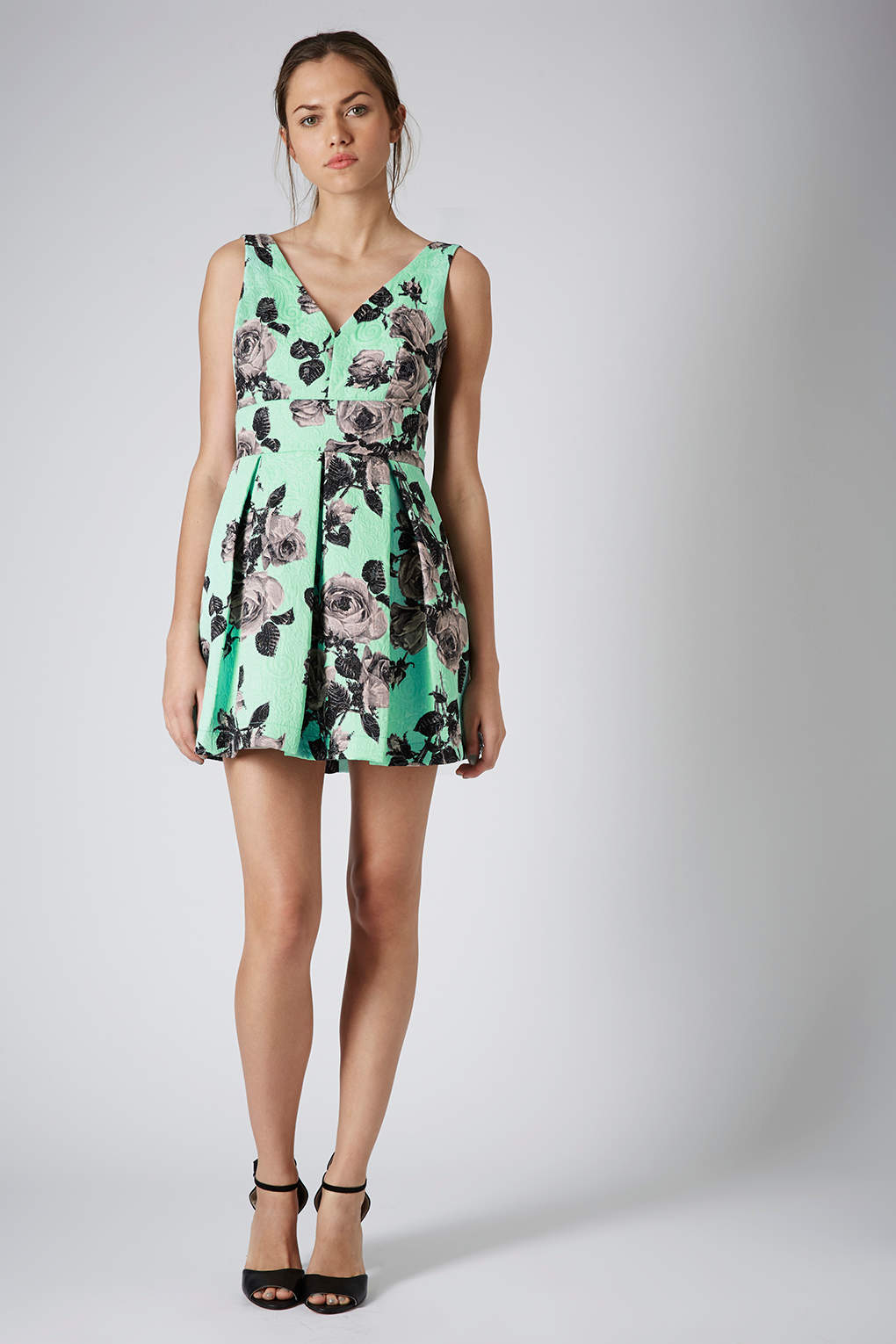 Lyst Topshop Stand Out Flower Prom Dress In Green