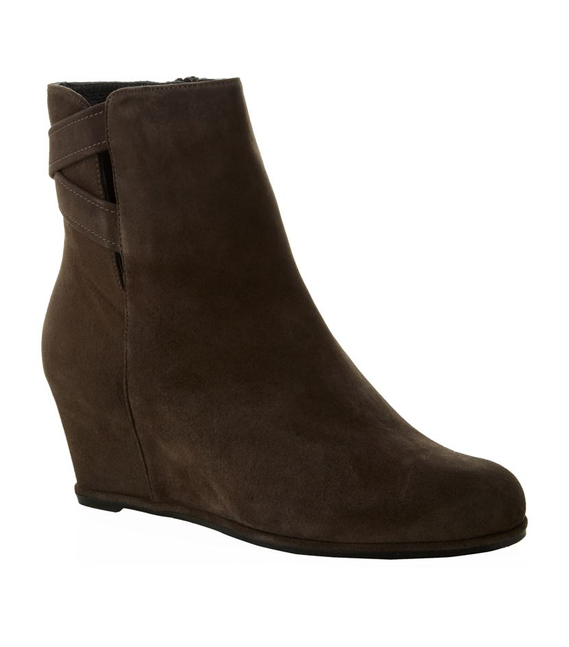 stuart weitzman fitness wedge suede ankle boot in brown lyst