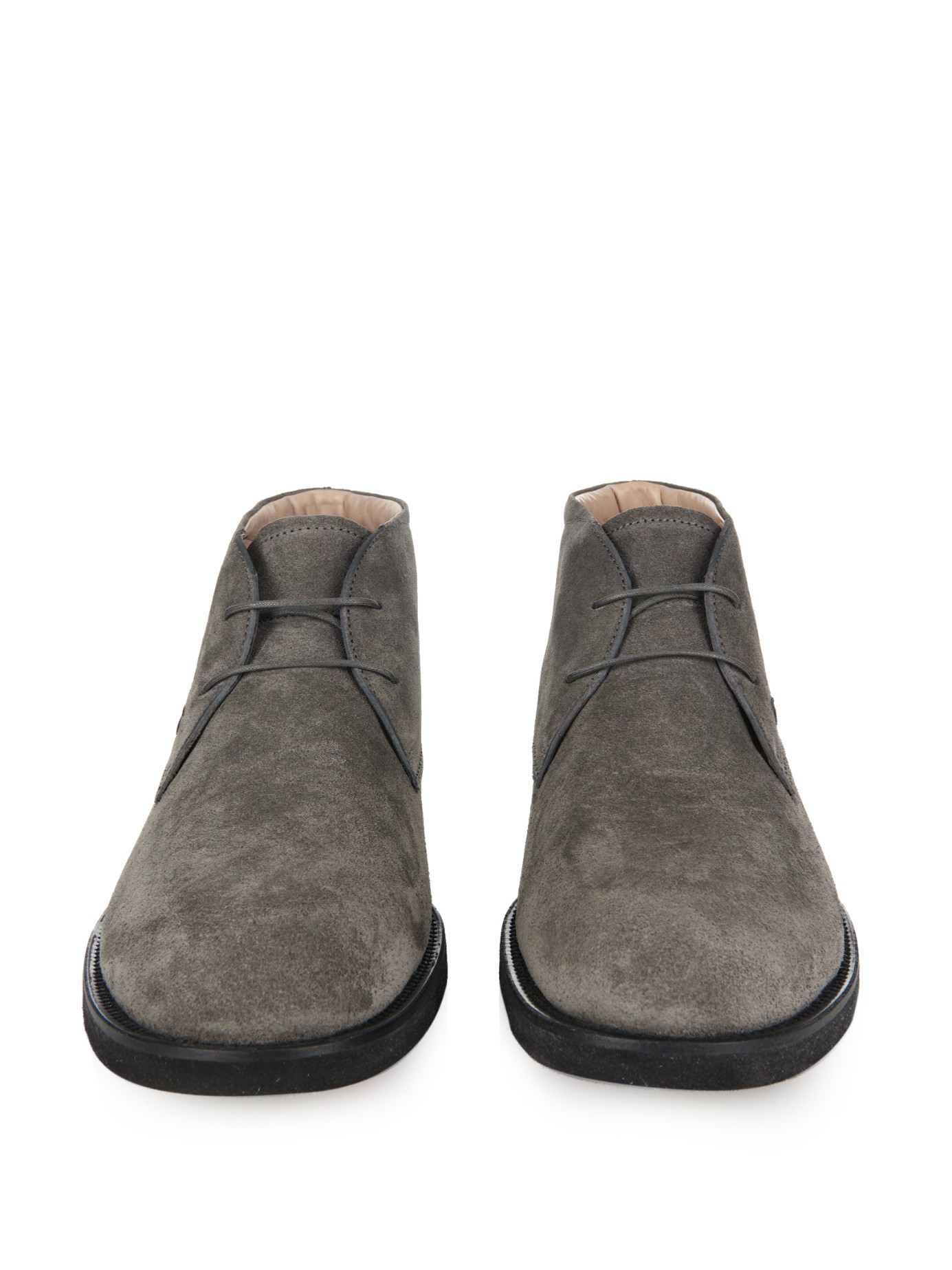 Lyst Tod S Suede Desert Boots In Gray For Men