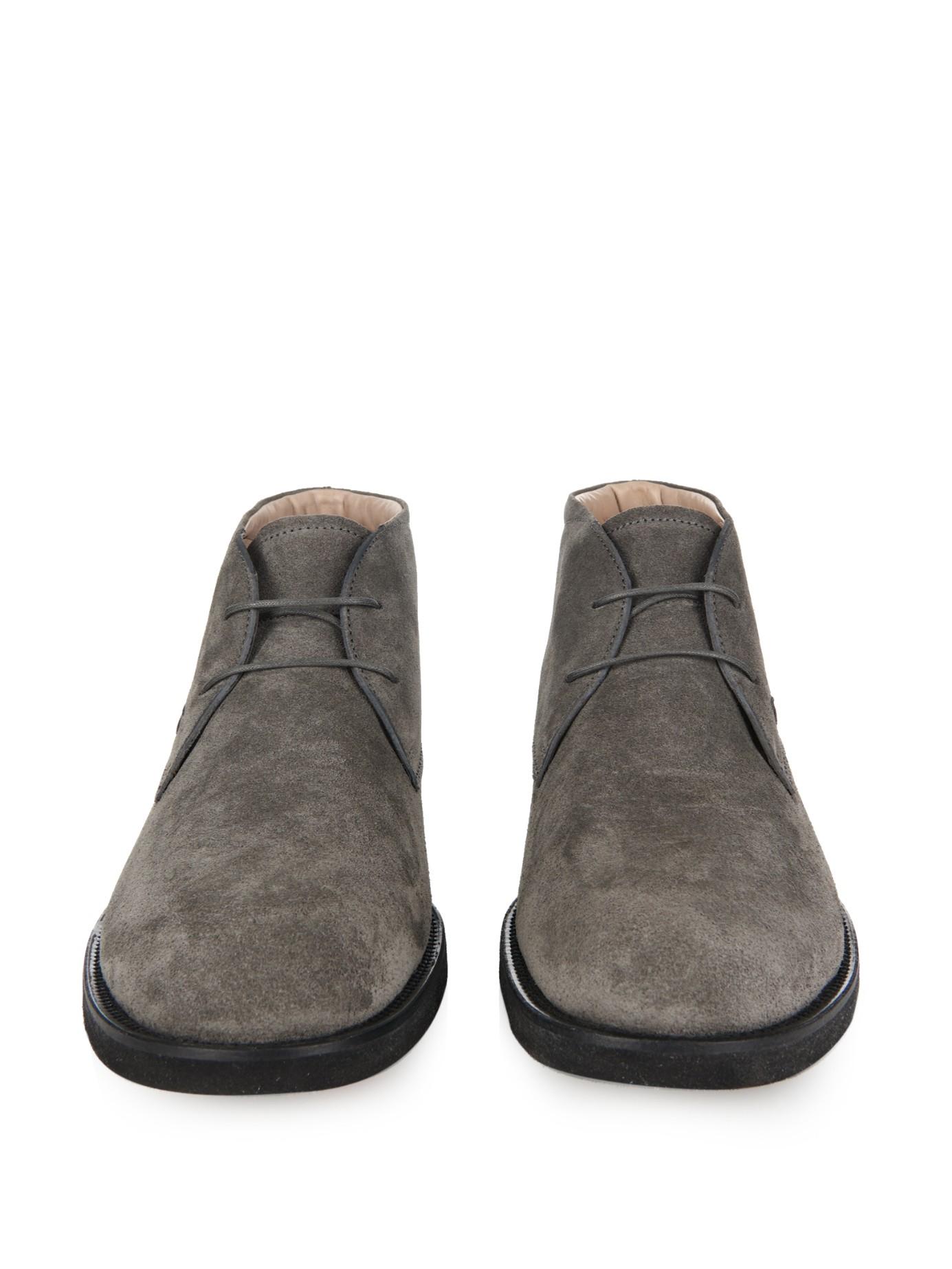 tod 39 s suede desert boots in gray for men lyst. Black Bedroom Furniture Sets. Home Design Ideas