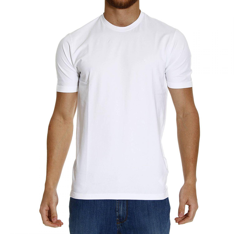 Fay t shirt half sleeve crew neck logo basic in white for men for Half sleeve t shirts for men