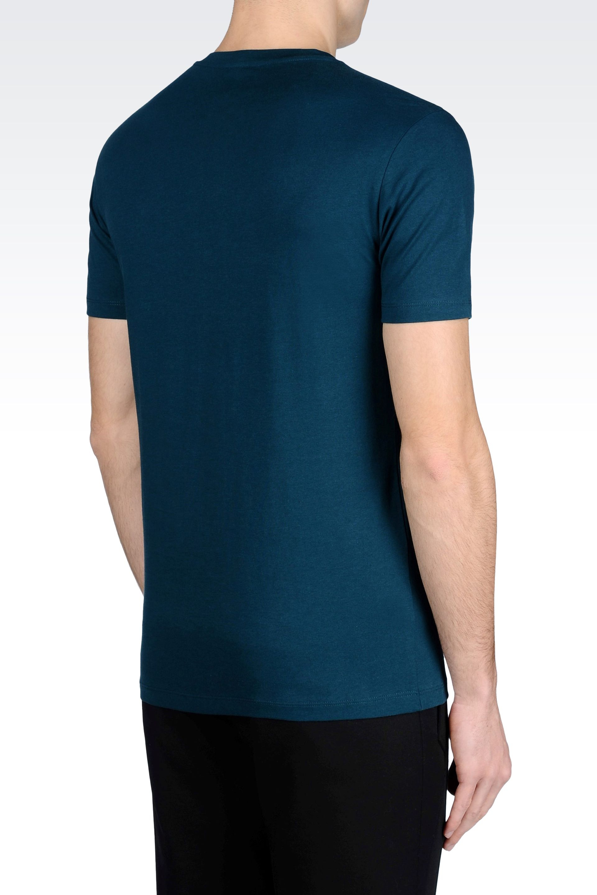 emporio armani t shirt in cotton jersey in blue for men lyst. Black Bedroom Furniture Sets. Home Design Ideas