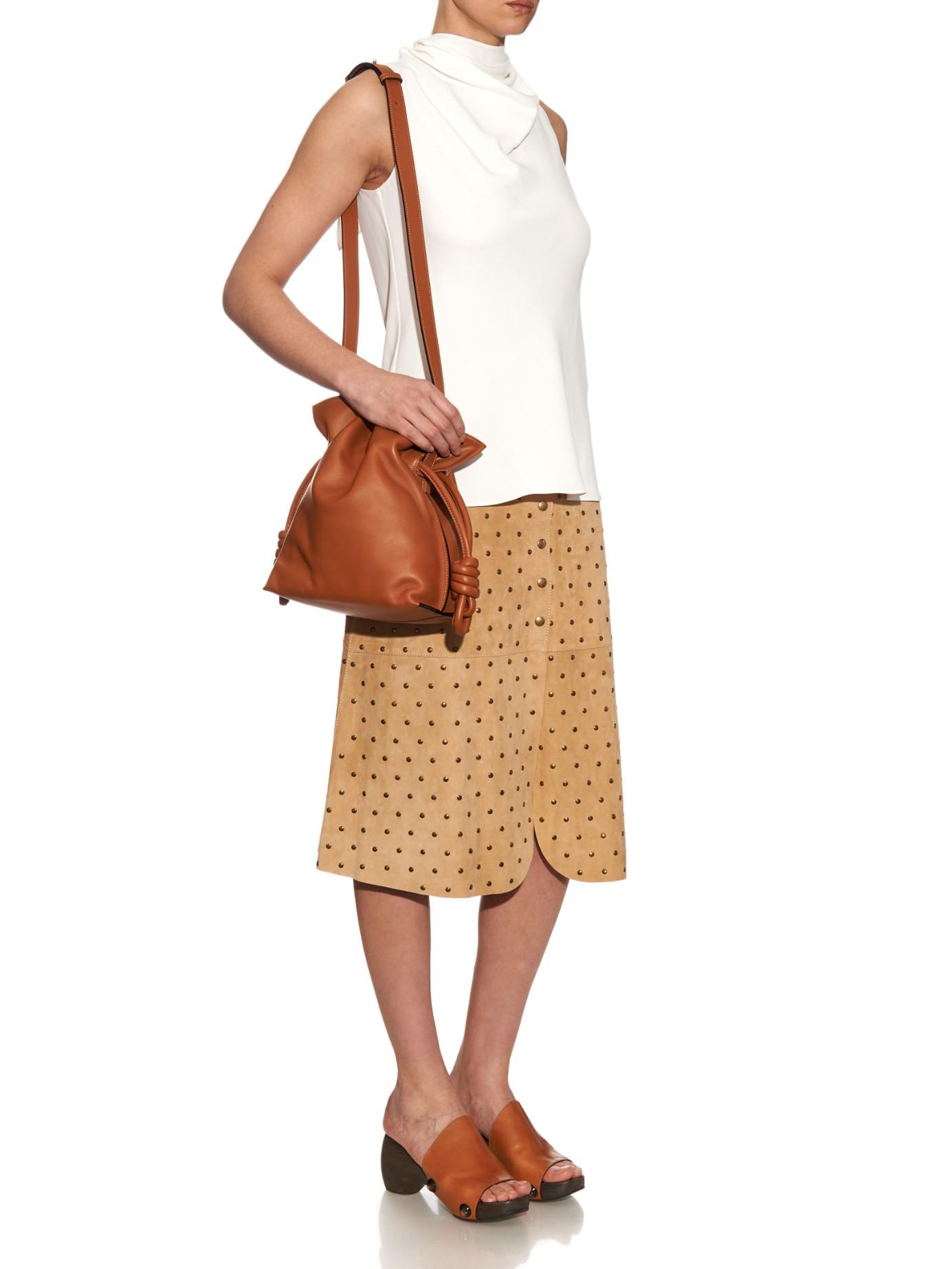 ddba5529c82b Lyst - Loewe Flamenco Knot Leather Bag in Brown
