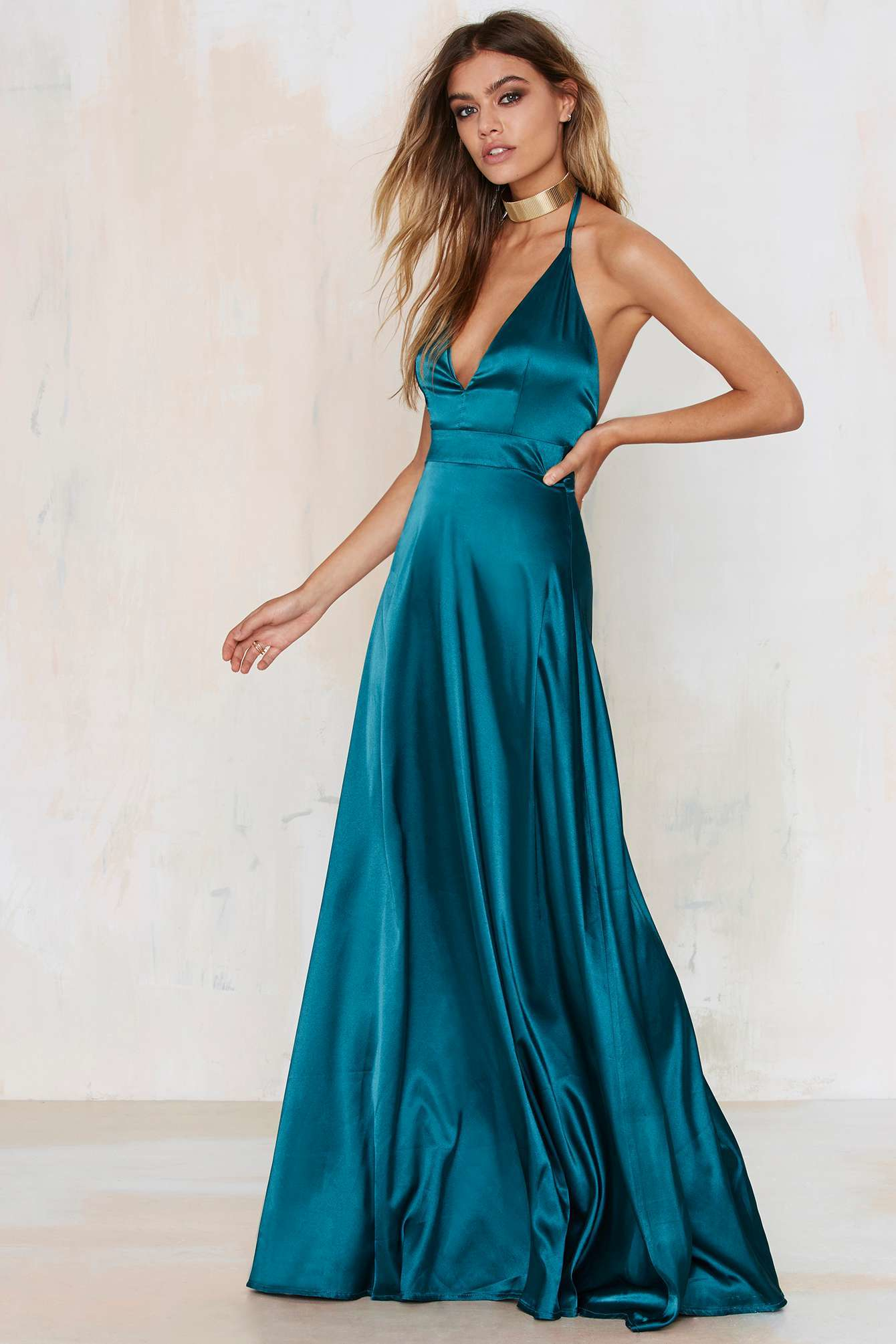 Twin sister Grand Entrance Satin Maxi Dress in Blue | Lyst