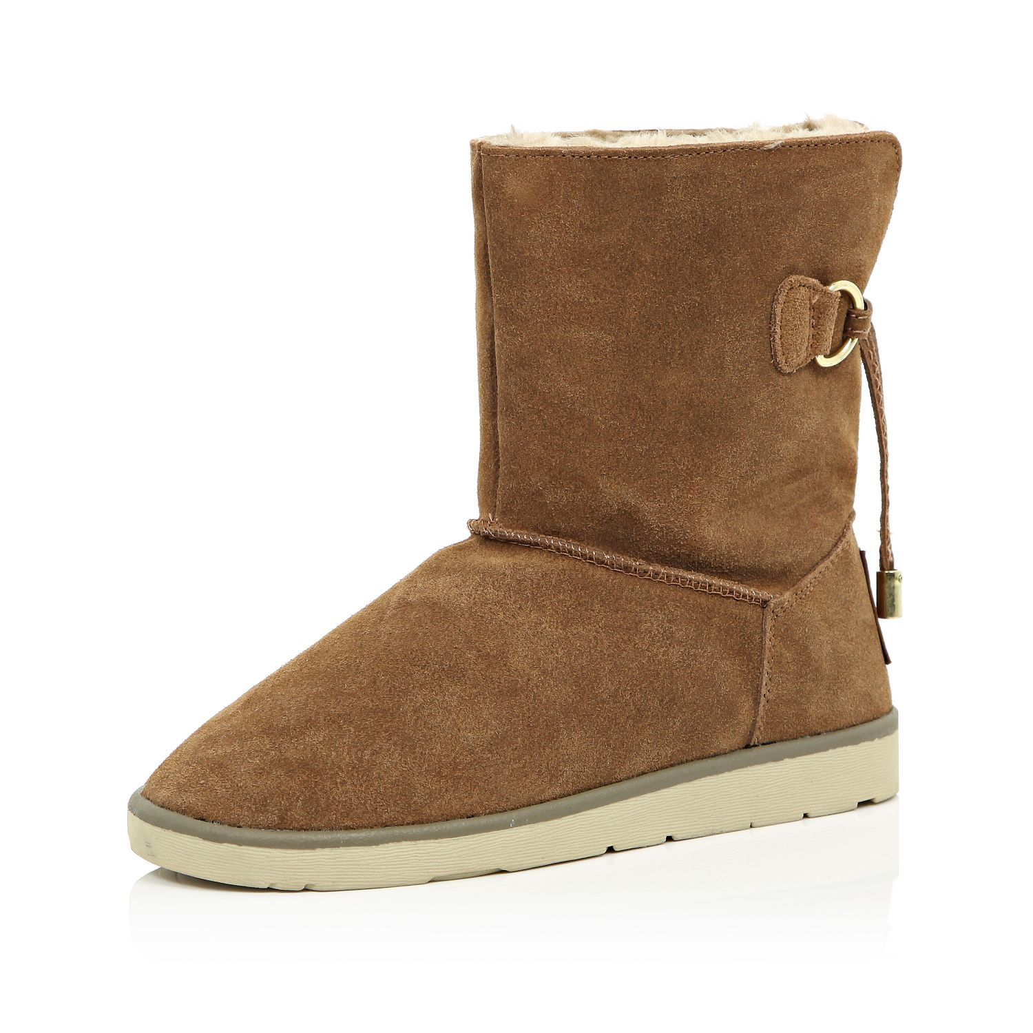 river island brown suede faux fur lined ankle boots in