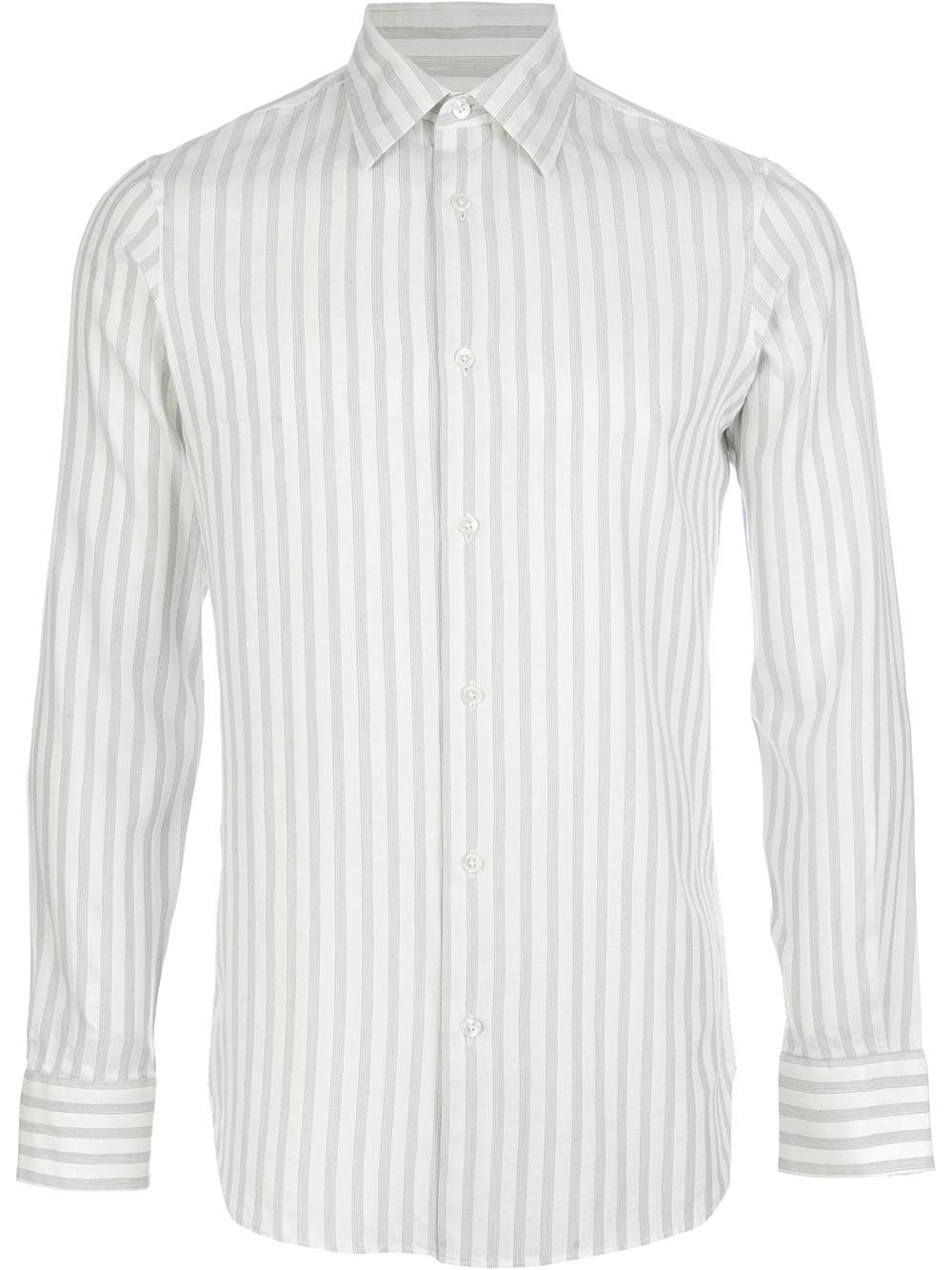 Ann demeulemeester grise Striped Shirt in White for Men | Lyst